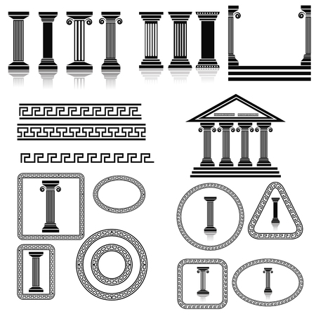 ancient civilization: Silhouettes of Columns Isolated on White Background. Collection of Greek Frames and Ornaments.