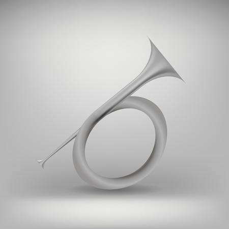 flugelhorn: Musical Metal  Horn Icon Isolated on Grey Background. Hunting Horn Icon.  Hunting Horn Icon Web Design. Hunting Horn Icon Concept. Hunting Horn Icon Metal Symbol of Hanting.   Hunting Horn Sign