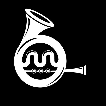 Musical French  Horn Icon Isolated on Black Background. French Horn Icon.  French Horn Icon Web Design. French Horn Icon Concept. French Horn Icon  Symbol.   French Horn Sign Illustration