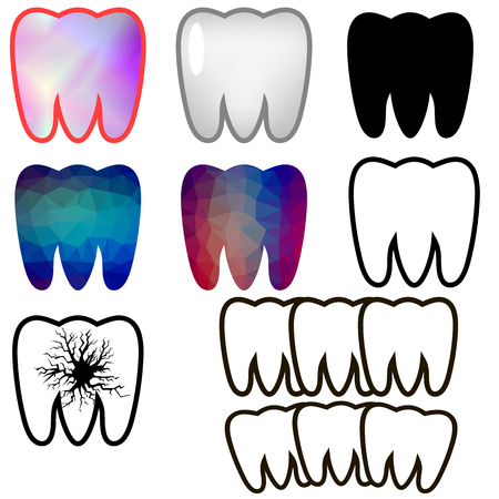 rotten teeth: Set of Rotten Teeth and Healthy Isolated on Blue Background. Dental Treatment. SevereToothache. Filled Tooth. Symbol of Carre and Health.