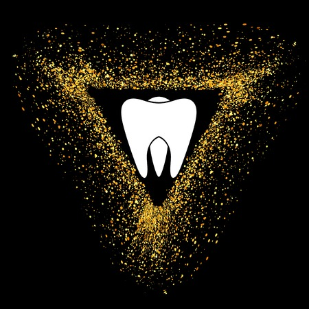 Tooth Logo on Gold Parts Triangle Frame. Tooth Emblem. Tooth Icon on Blackbackground.