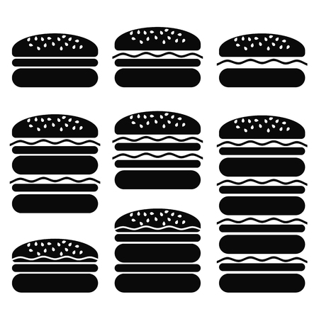 ground beef: Set of Different Hamburger Icons Isolated on White Background. Symbol of Fast Food. Illustration