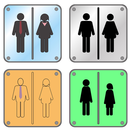 Restroom Sign with Man and Woman Isolated on White Background.