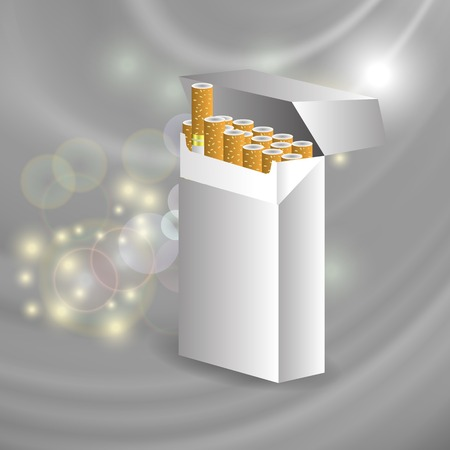 cigarette pack: Open Cigarette Pack on Star Grey Wave Background