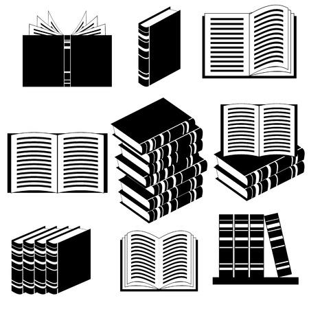 epublishing: Set of Different Book Icons Isolated on White Background Illustration