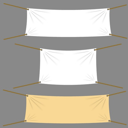 tight: Textile Banners with Copy Space Suspended by Ropes by all Four Corners and Stretched Tight Hanging. White Vinyl Banners is Waving. Various Empty Promotional Banners.