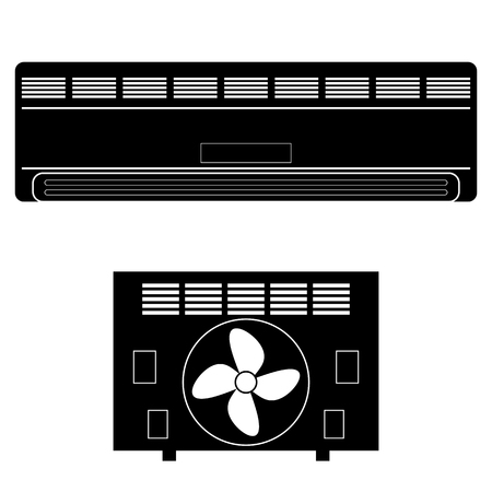 motorised: Wall-mounted Air Conditioner Icon. Air Purifier. Air Conditioner on the Wall. Illustration