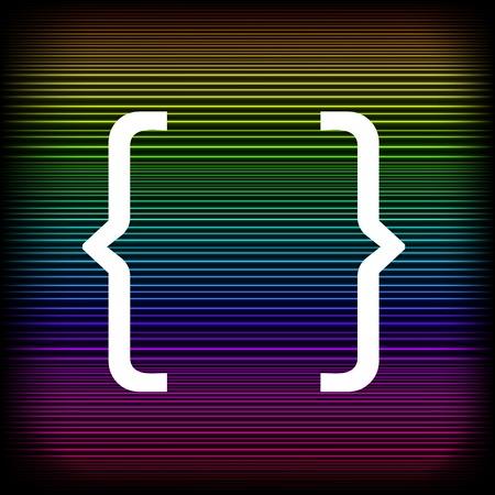 bracket: Curly Bracket Icon Isolated on Colorful Neon Background Illustration