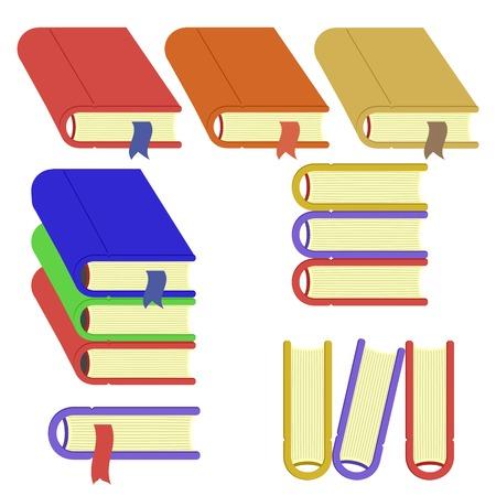 electronic publishing: Set of Different Book Icons Isolated on White Background Stock Photo