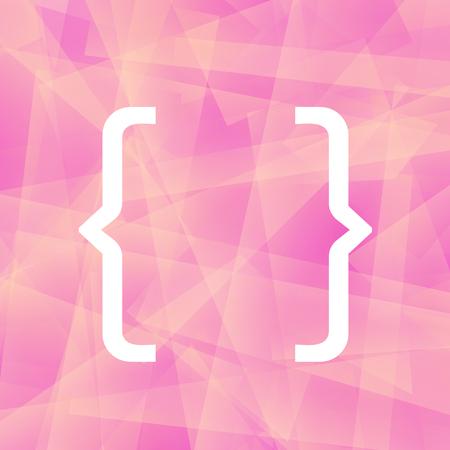 bracket: Curly Bracket Icon Isolated on Pink Polygonal Background