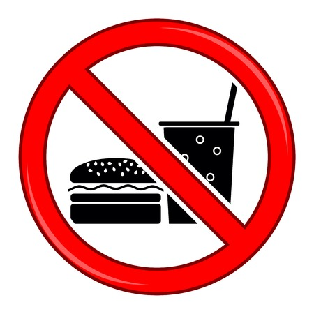 no food: No Food Allowed Symbol. Prohibition Sign Isolated on White Background. No Food or Drink Area Sign.