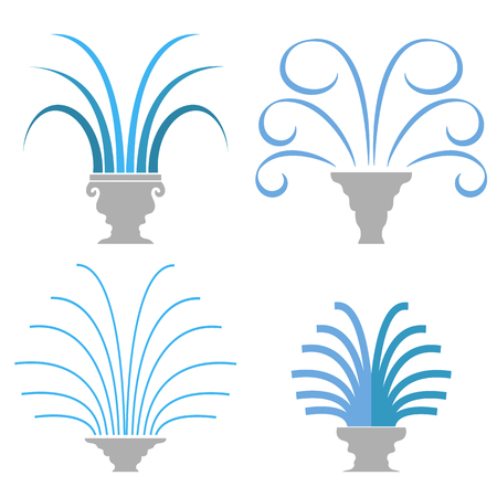 ramble: Fountain Icon Collection Isolated on White Background