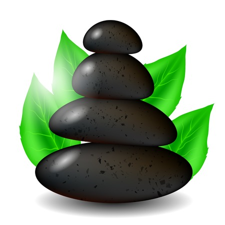 lastone: Spa Stones Background with Green Leaves Isolated on White Background Illustration