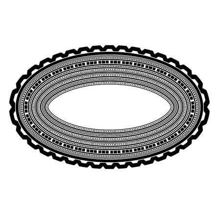 oval frame: Decorative Oval Frame Isolated on White Background Illustration