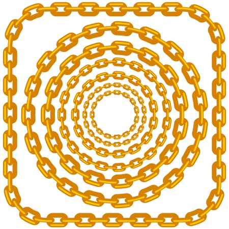 fetter: Set of Circle Gold Chain Frames Isolated on White Background