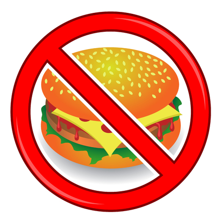 no food: No Cheeseburger Sign Isolated on White Background. No Food Allowed Sign.