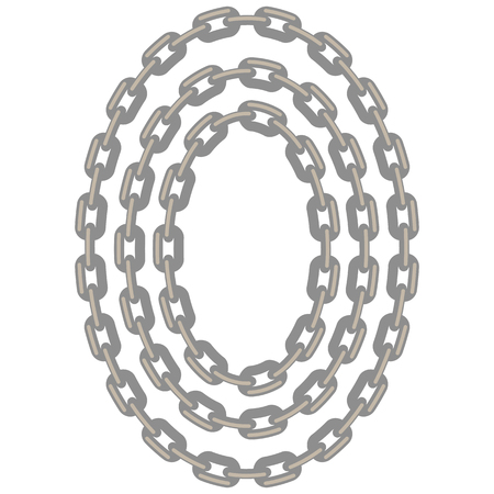 Set of Oval Chain Frames Isolated on White Background Illustration