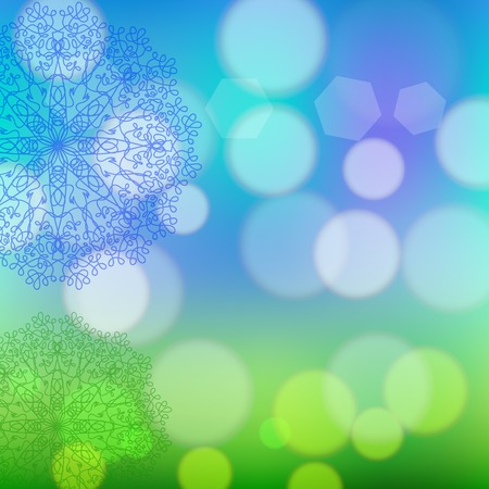 Circle Lace Ornament, Round Ornamental Geometric Doily Pattern, Christmas Snowflake Decoration on Blurred Background Illustration