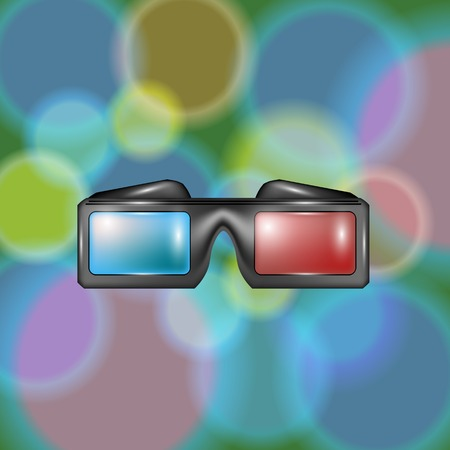 stereoscope: Glasses for Watching Movies on Colorful Blutted Backround Illustration
