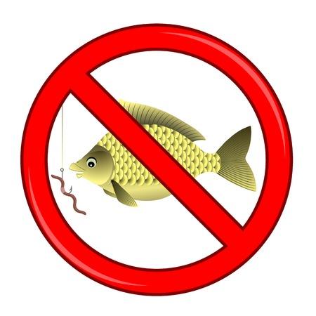 prohibited: Fishing Prohibited Sign Isolated on White Background