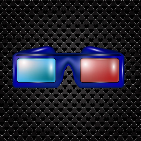 stereoscope: Glasses for Watching Movies Isolated on Dark Perforated Backround