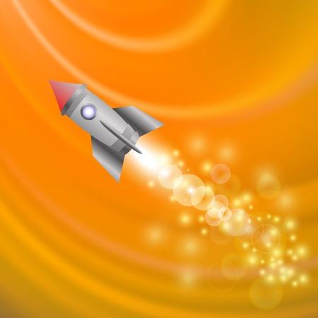 spacecraft: Space Rocket on Orange Wave Background . Launching Spacecraft.
