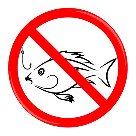 banned: Fishing Prohibited Sign Isolated on White Background