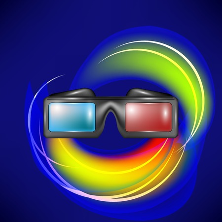 stereoscope: Glasses for Watching Movies on Blue Wave Backround