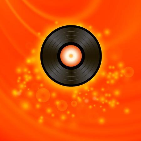 Retro Vinyl Disc sur fond flou Rouge Vecteurs