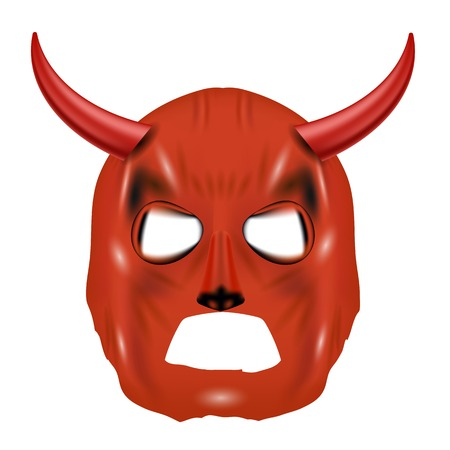 wears: Red Horn Mask Isolated on White Background