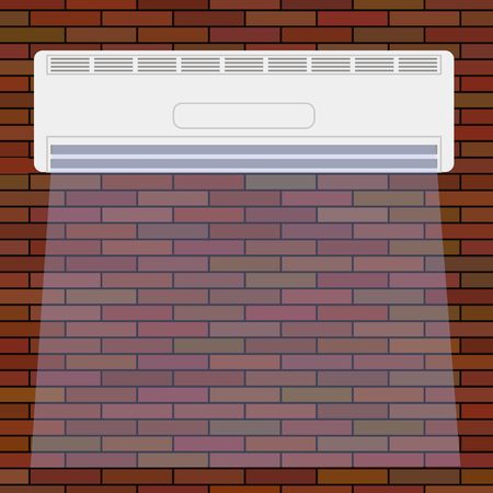 motorised: Wall-mounted Air Conditioner Icon. Air Purifier. Air Conditioner on the Red Brick Wall.