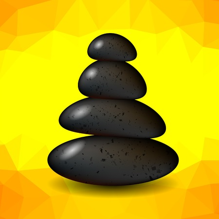 Yellow Polygonal Spa Background with Stones. Spa Stones.