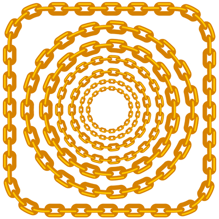 Set of Circle Gold Chain Frames Isolated on White Background
