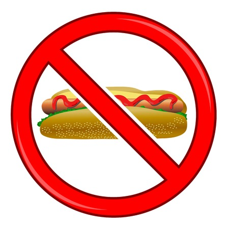 dog allowed: No Hot Dog Sign Isolated on White Background. No Food Allowed Sign. Stock Photo