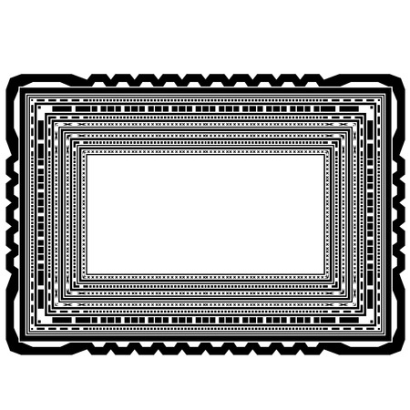 sillouette: Rectangular Decorative Frame Isolated on White Background
