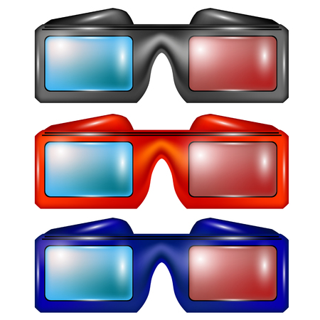 stereoscope: Set of Colorful Glasses for Watching Movies Isolated on White Backround