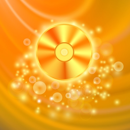 compact disc: Compact Disc Isolated on Orange Wave Blurred  Background Illustration