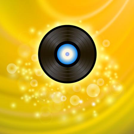 Disque vinyle rétro sur fond jaune flou