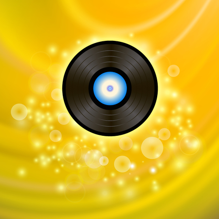 grooves: Retro Vinyl Disc on Yellow Blurred Background