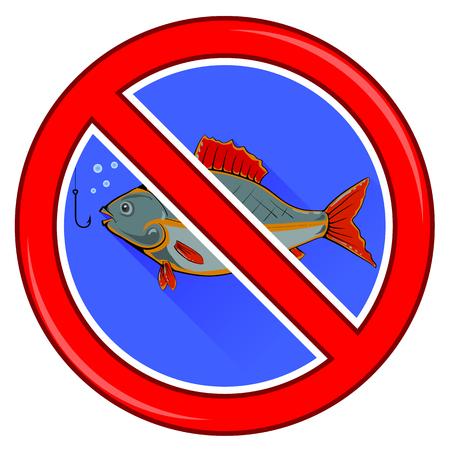prohibido: La pesca está prohibida la muestra aislada en el fondo blanco