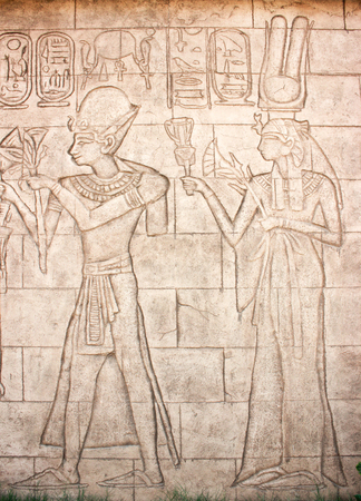 frieze: Old murals. Frieze of Egyptian Goddess. Wall carving