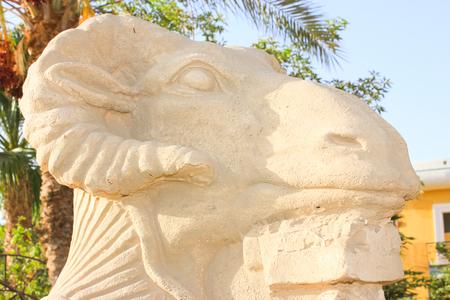 pharoah: Statue of ram-headed sphinx and pharoah at Sun