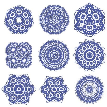 Round Geometric Ornaments Set Isolated on White Background Illustration