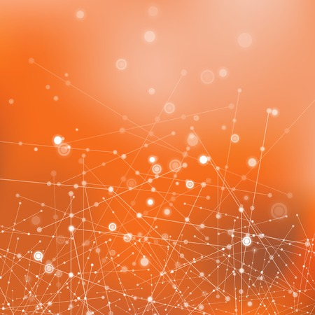 compounds: Orange Technology Background with Particle, Molecule Structure. Genetic and Chemical Compounds. Communication Concept. Space and Constellations.