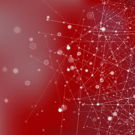 Fondo de la tecnología de color rojo con partículas, estructura de la molécula. Genética y compuestos químicos. Concepto de comunicación. El espacio y las constelaciones.