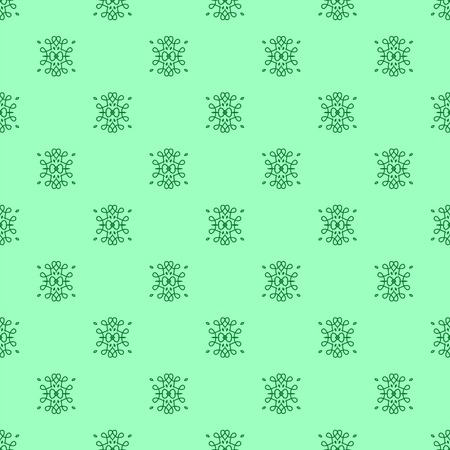 rebirth: Seamless Texture on Green. Element for Design. Ornamental Backdrop. Pattern Fill. Ornate Floral Decor for Wallpaper. Traditional Decor on Green Background