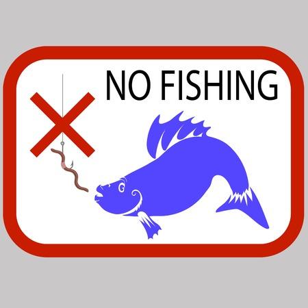 prohibited: Fishing Prohibited Sign Isolated on Grey Background
