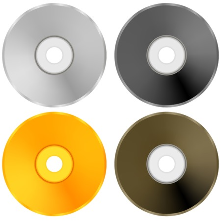 recordable: Colorful Realistic Compact Disc Collection Isolated on White Background