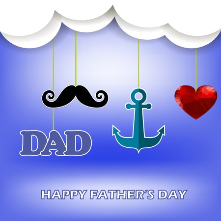 super dad: Super Dad Poster on Blue Sky Background. Happy Fathers Day