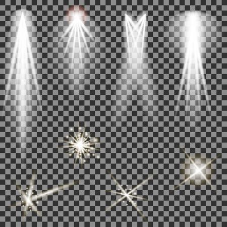 Concert Lighting. Stage Spotlights Background. Lantern Illuminates The Dark Background. Spotlight Pattern
